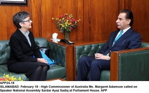 APP24-18 ISLAMABAD: February 18 - High Commissioner of Australia Ms. Margaret Adamson called on Speaker National Assembly Sardar Ayaz Sadiq at Parliament House. APP