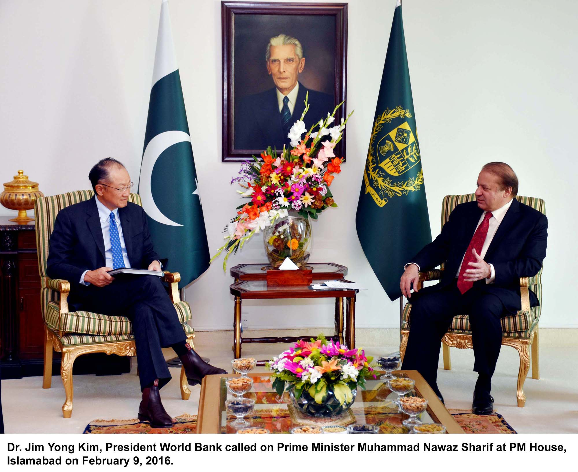 Dr. Jim Yong Kim, President World Bank called on Prime Minister Muhammad Nawaz Sharif at PM House, Islamabad on February 9, 2016.