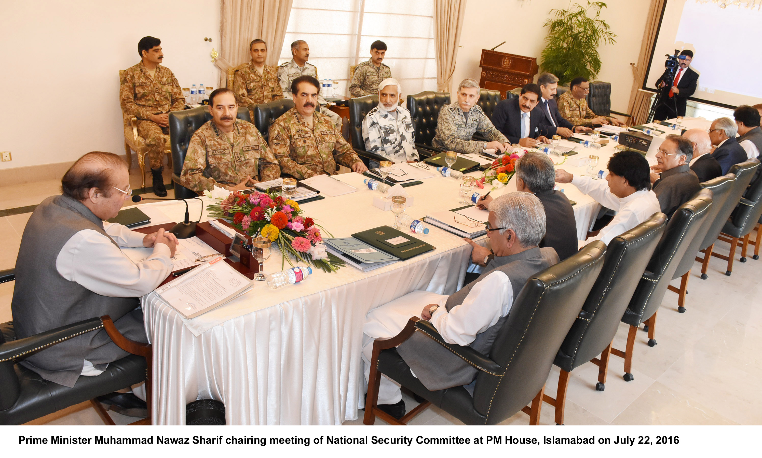 Prime Minister Muhammad Nawaz Sharif chairing meeting of National Security Committee at PM House, Islamabad on July 22, 2016
