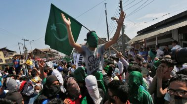 Supporters of the moderate faction of All Parties Hurriyat (freedom) Conference attend a rally to mark the death anniversaries of chief cleric of Kashmir, Moulana Mohammad Farooq and Abdul Gani Lone, a Kashmiri separatist leader, in Srinagar, India May 20, 2016. REUTERS/Danish Ismail