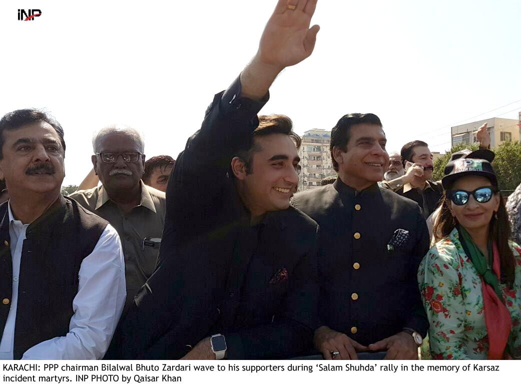KARACHI: PPP chairman Bilalwal Bhuto Zardari wave to his supporters during 'Salam Shuhda' rally in the memory of Karsaz incident martyrs. INP PHOTO by Qaisar Khan